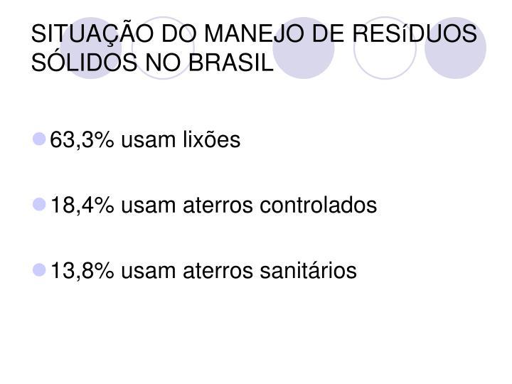SITUAÇÃO DO MANEJO DE RESíDUOS SÓLIDOS NO BRASIL