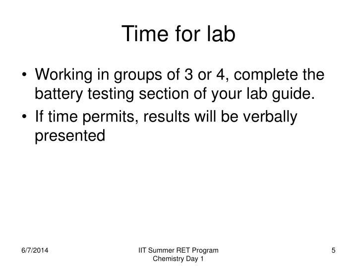 Time for lab