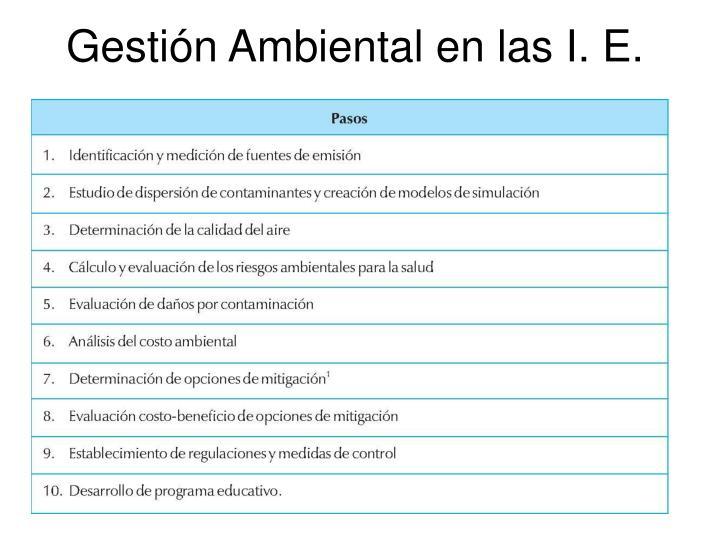 Gestión Ambiental en las I. E.
