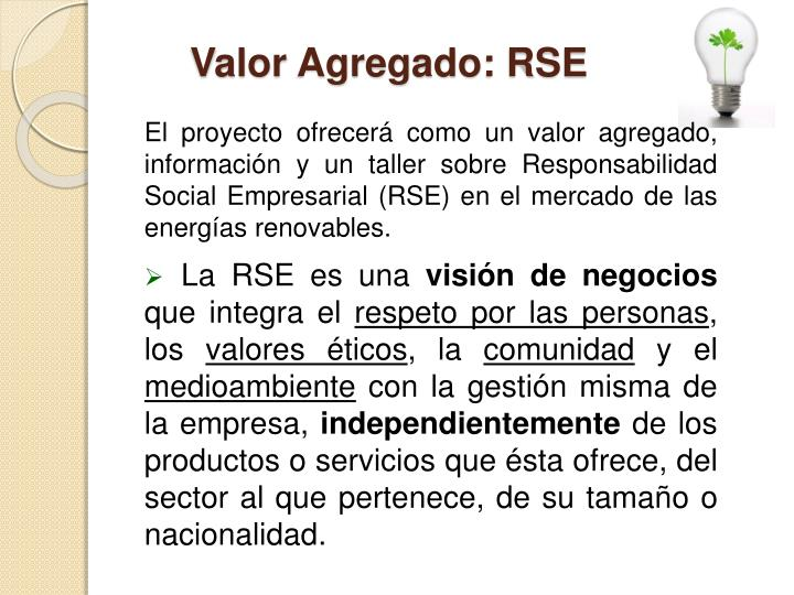 Valor Agregado: RSE
