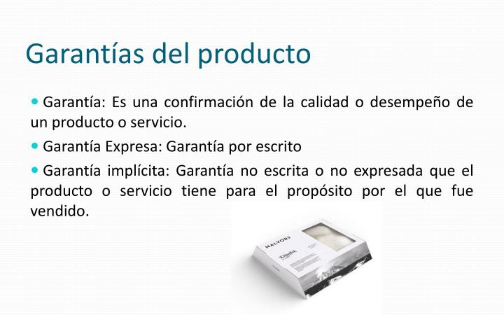 Garantías del producto
