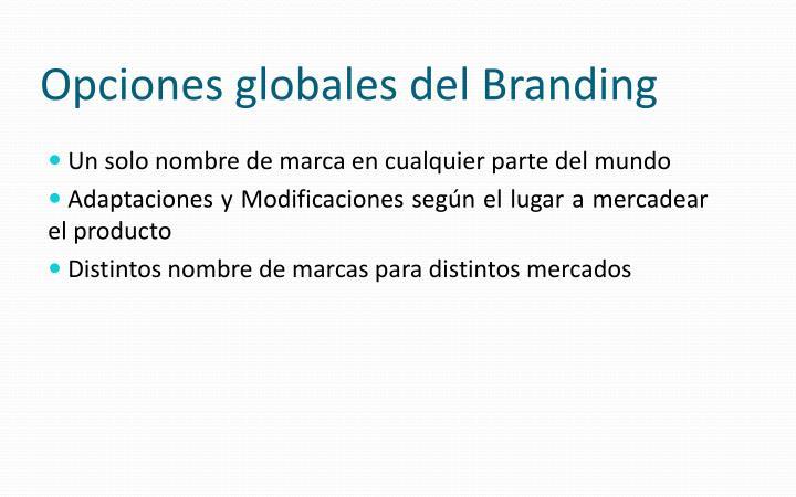 Opciones globales del Branding