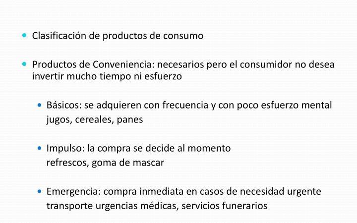 Clasificación de productos de consumo
