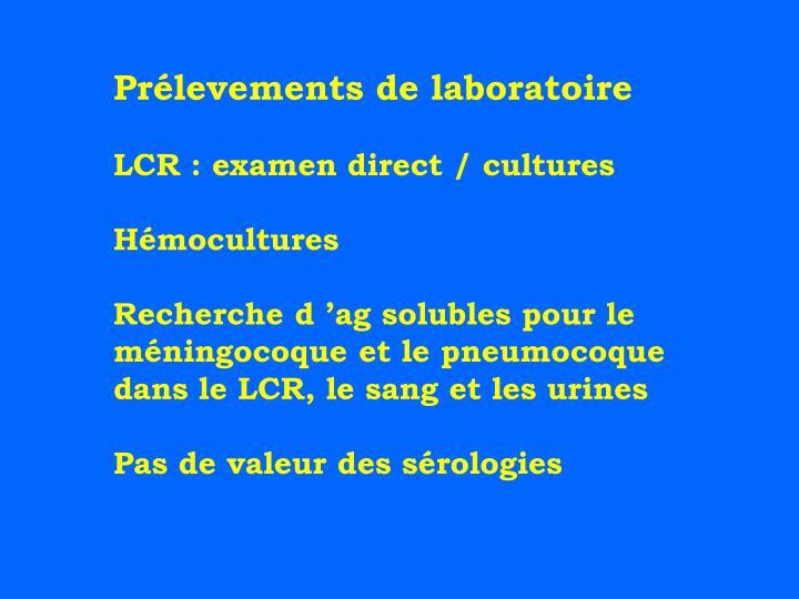 Prélevements de laboratoire