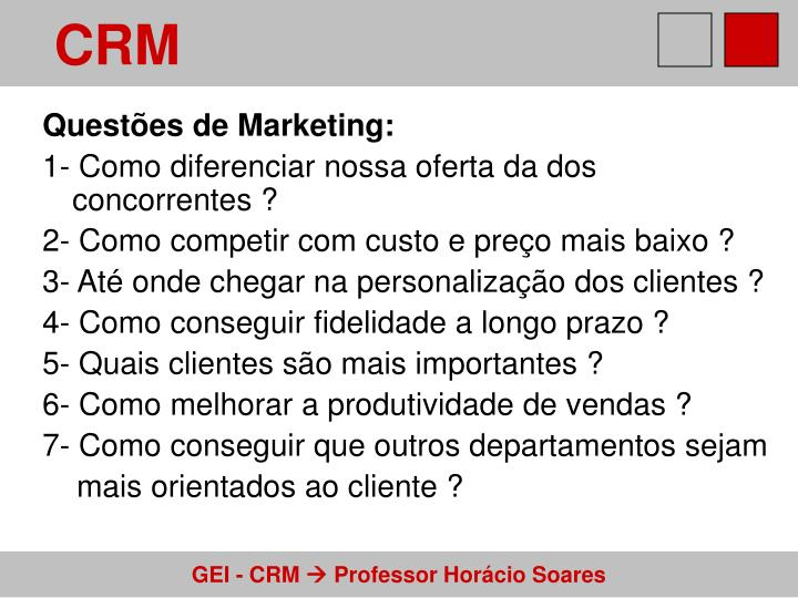 Questões de Marketing: