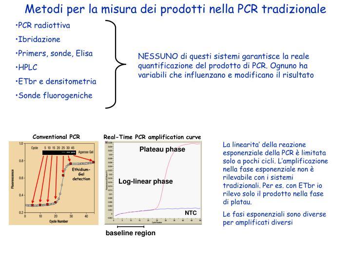Metodi per la misura dei prodotti nella PCR tradizionale