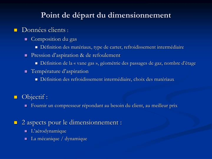 Point de départ du dimensionnement
