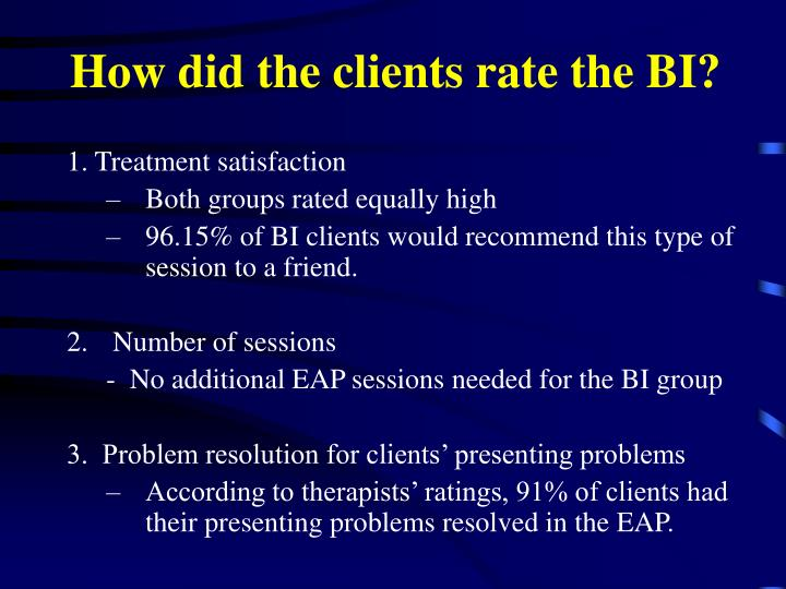 How did the clients rate the BI?