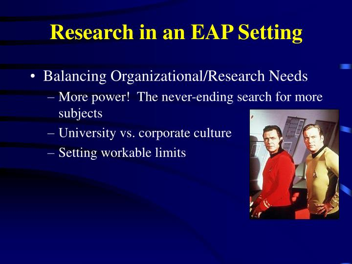 Research in an EAP Setting