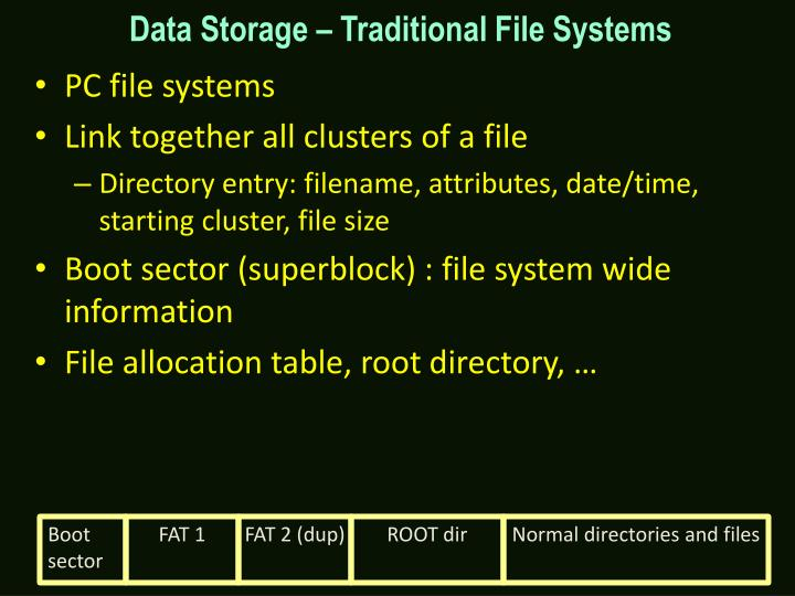 Data Storage – Traditional File Systems
