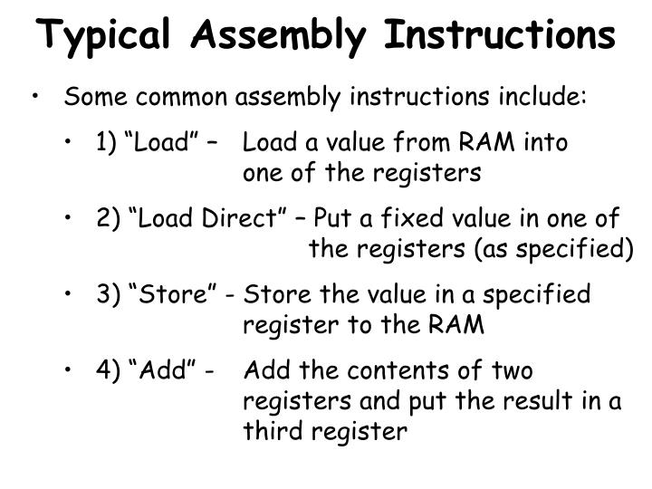 Typical Assembly Instructions