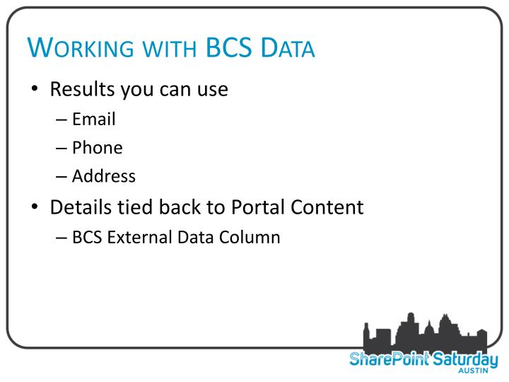 Working with BCS Data