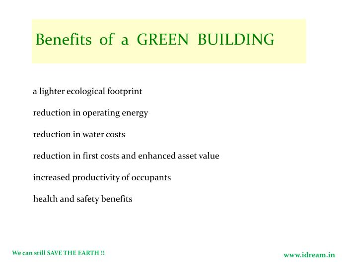 Benefits  of  a  GREEN  BUILDING