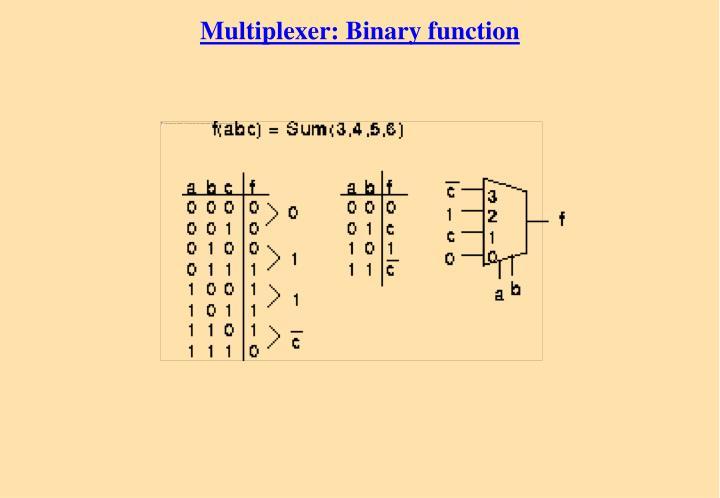 Multiplexer: Binary function
