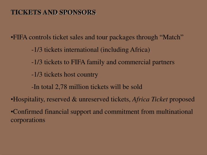 TICKETS AND SPONSORS