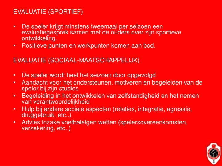EVALUATIE (SPORTIEF)