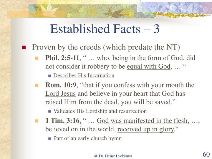 Established Facts – 3