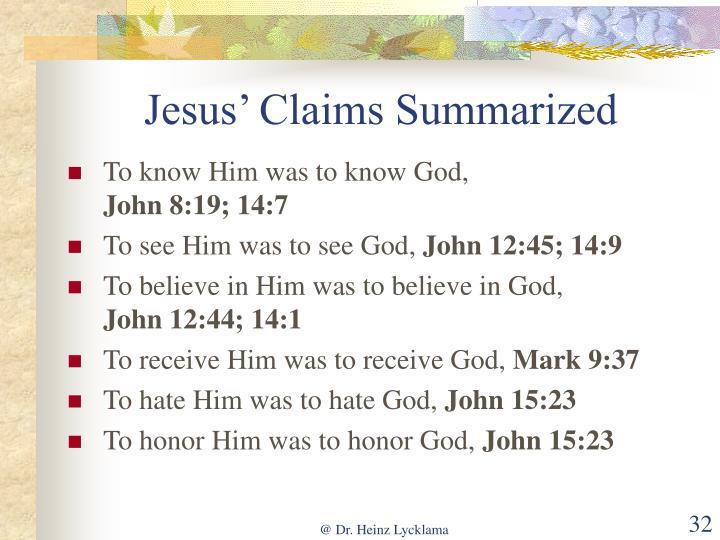 Jesus' Claims Summarized