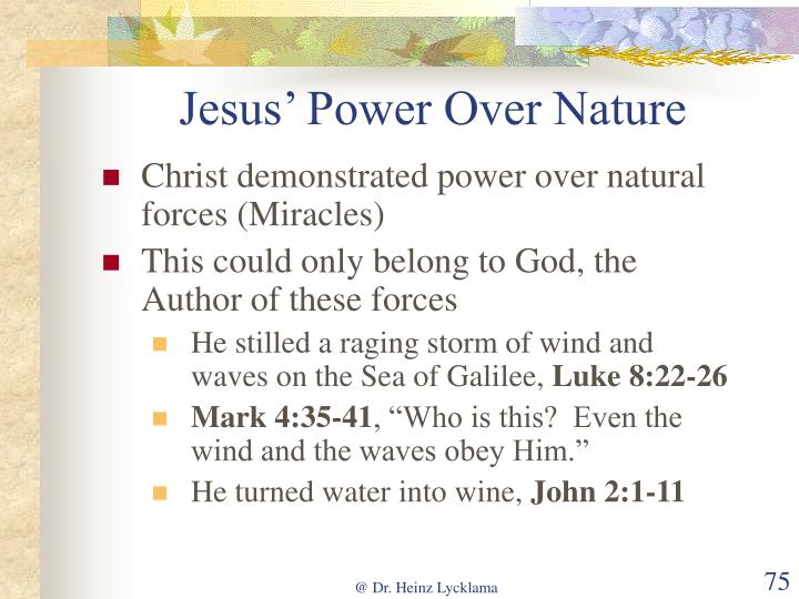 Jesus' Power Over Nature