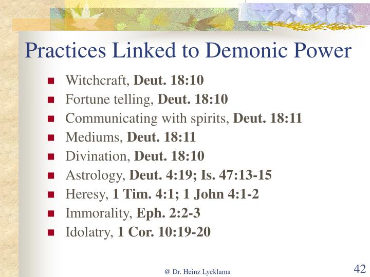 Practices Linked to Demonic Power