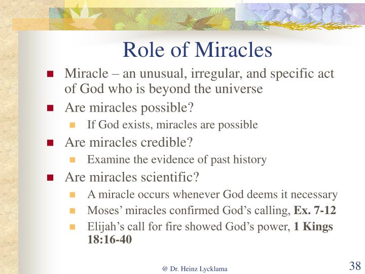 Role of Miracles