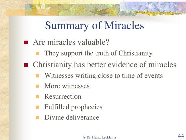 Summary of Miracles