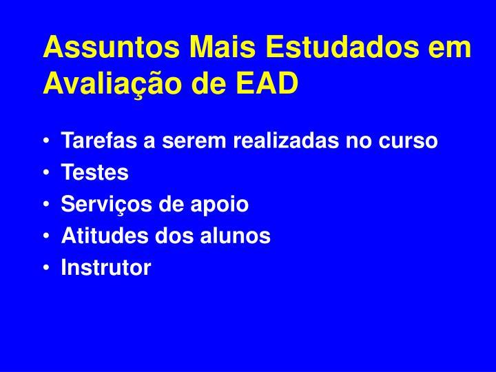 Assuntos Mais Estudados em Avaliação de EAD