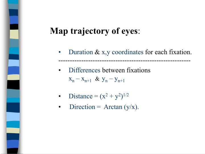Map trajectory of eyes