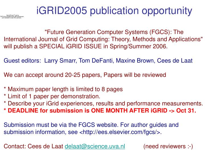 iGRID2005 publication opportunity
