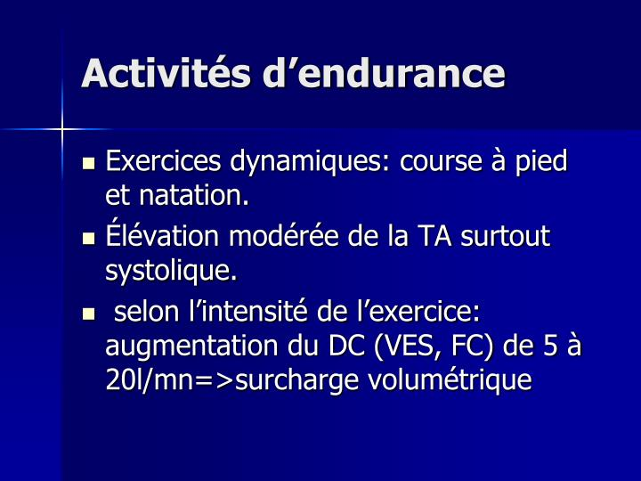 Activités d'endurance