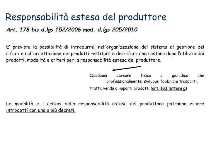Responsabilità estesa del produttore
