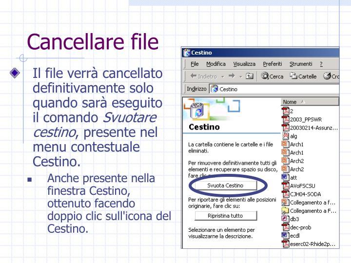 Cancellare file