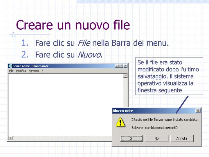 Creare un nuovo file