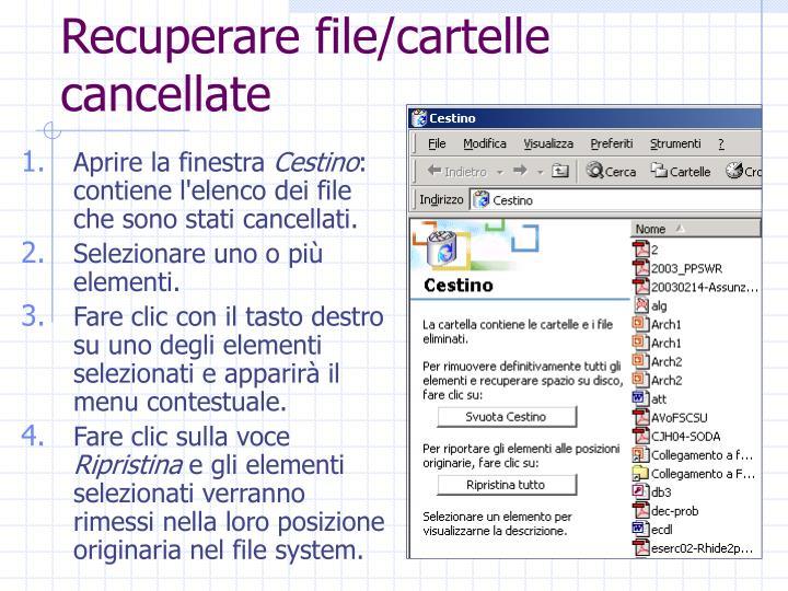 Recuperare file/cartelle cancellate