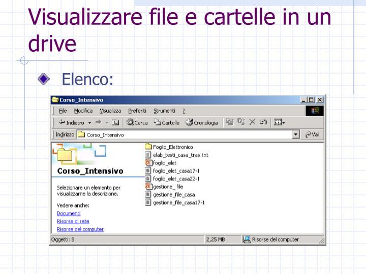 Visualizzare file e cartelle in un drive