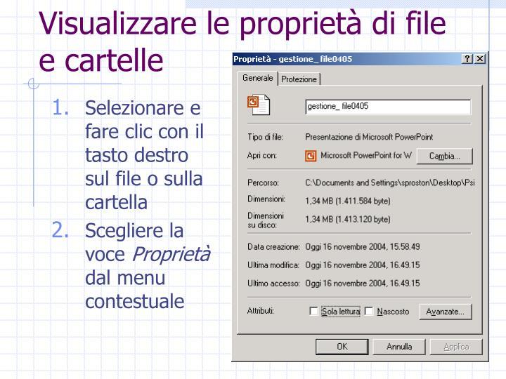 Visualizzare le proprietà di file e cartelle