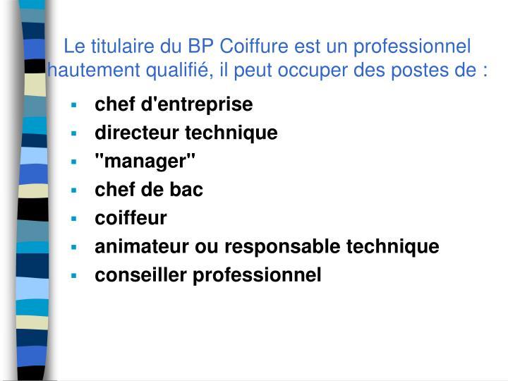 Le titulaire du BP Coiffure est un professionnel hautement qualifié, il peut occuper des postes de :