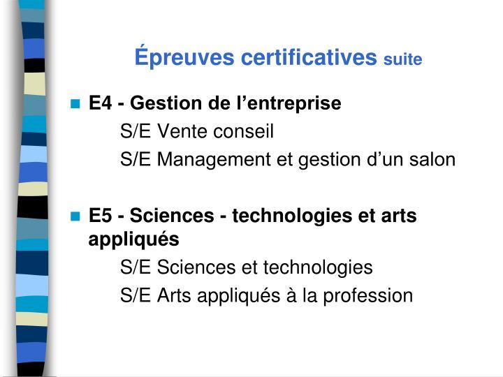 Épreuves certificatives
