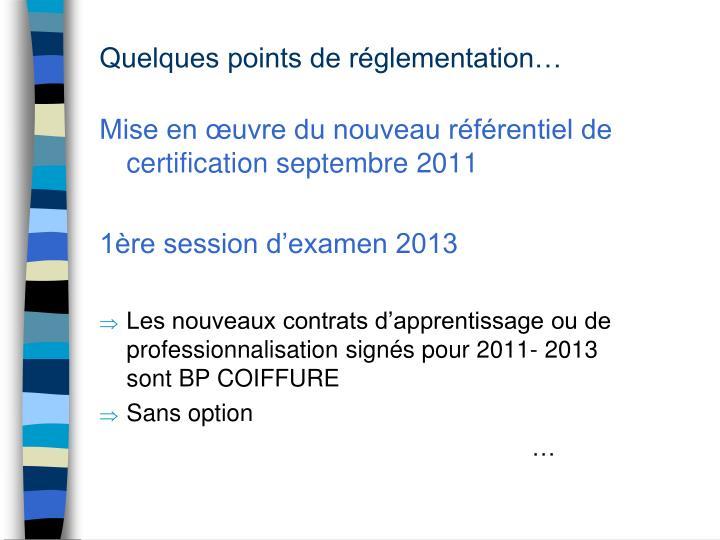Mise en œuvre du nouveau référentiel de certification septembre 2011