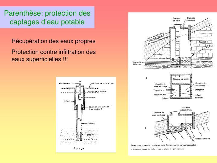 Parenthèse: protection des captages d'eau potable
