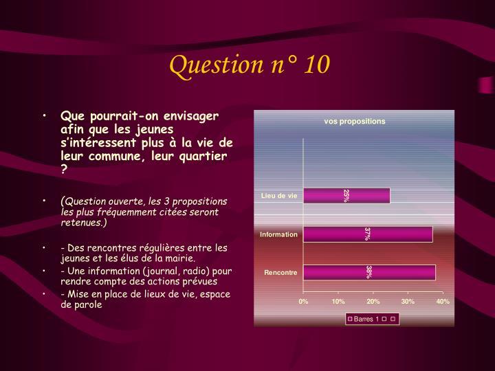 Question n° 10