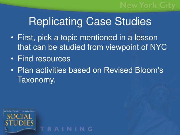 First, pick a topic mentioned in a lesson that can be studied from viewpoint of NYC