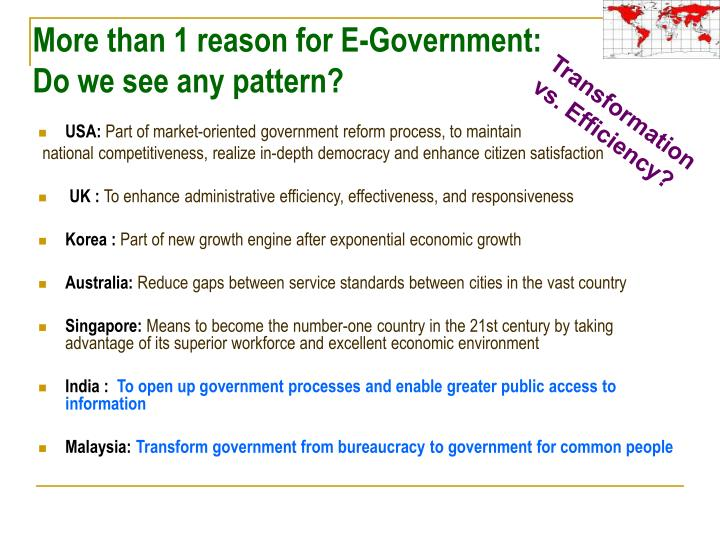 More than 1 reason for E-Government: