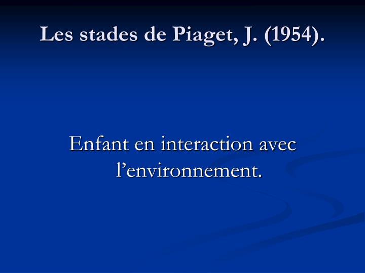 Les stades de Piaget, J. (1954).