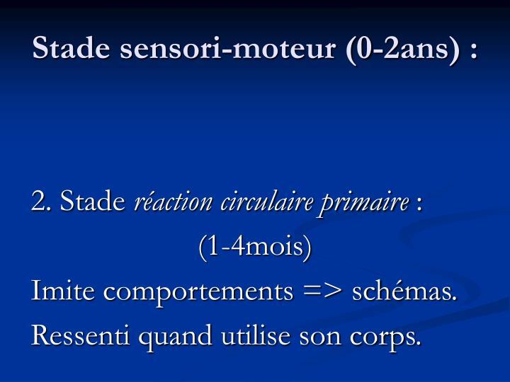 Stade sensori-moteur (0-2ans) :
