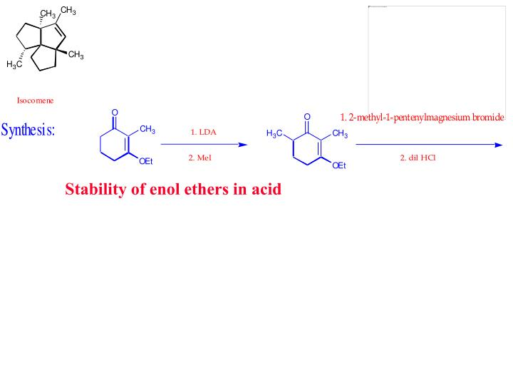 Stability of enol ethers in acid