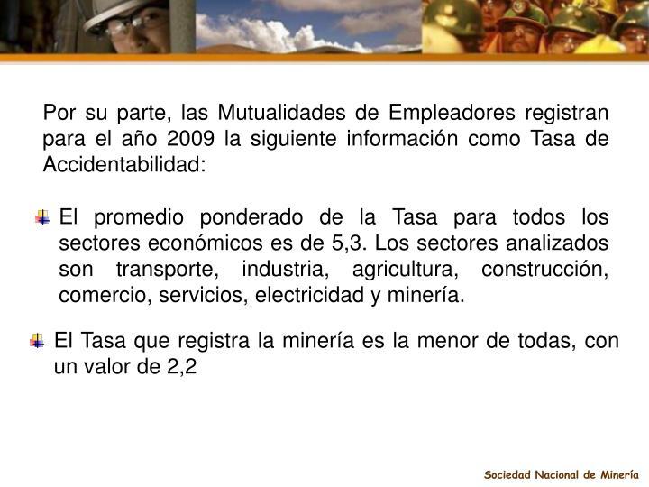 Por su parte, las Mutualidades de Empleadores registran para el año 2009 la siguiente información como Tasa de Accidentabilidad: