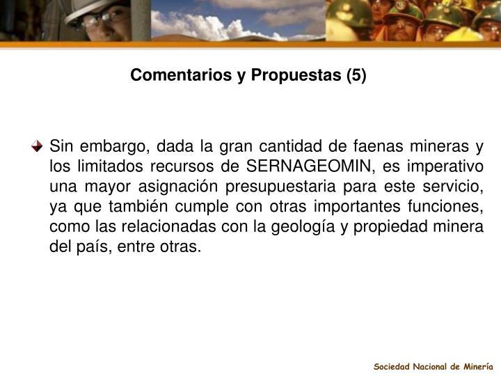 Comentarios y Propuestas (5)