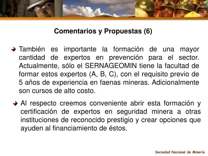 Comentarios y Propuestas (6)