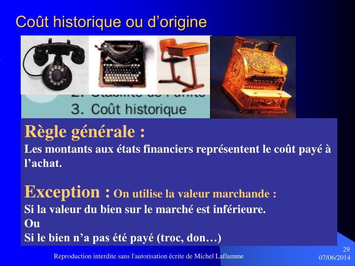 Coût historique ou d'origine